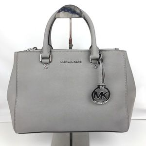 Michael Kors Sutton Leather Medium Gray Satchel